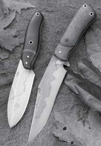 "Two eye catching offerings from Ryan Weeks that show the contrast between his designs. The S&R has a bit of a ""modern Nessmuk"" look with an elliptical design. Alongside the S&R is the Lorien, showing a Bowie-style knife with hardwood handle scales, both with beautiful hamon lines that are characteristic of Ryan W. Knives."