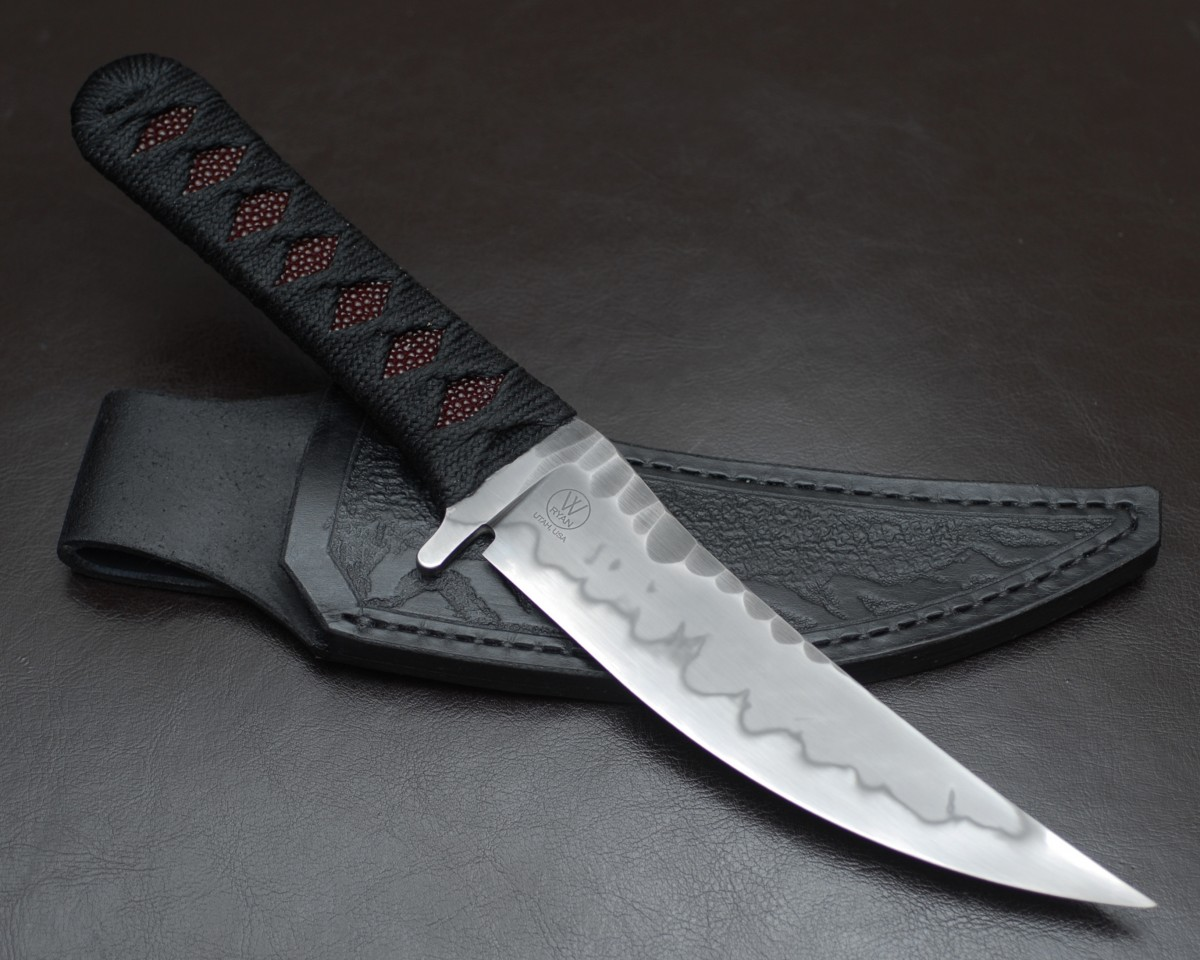 Borka Ryan W Knives Collaboration Knife. SBK XL With Hamon and Leather Sheath